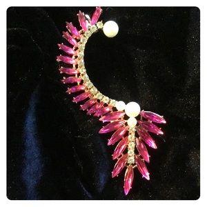 Pink Fuchsia Rhinestone Crystal Ear Cuff *NEW*